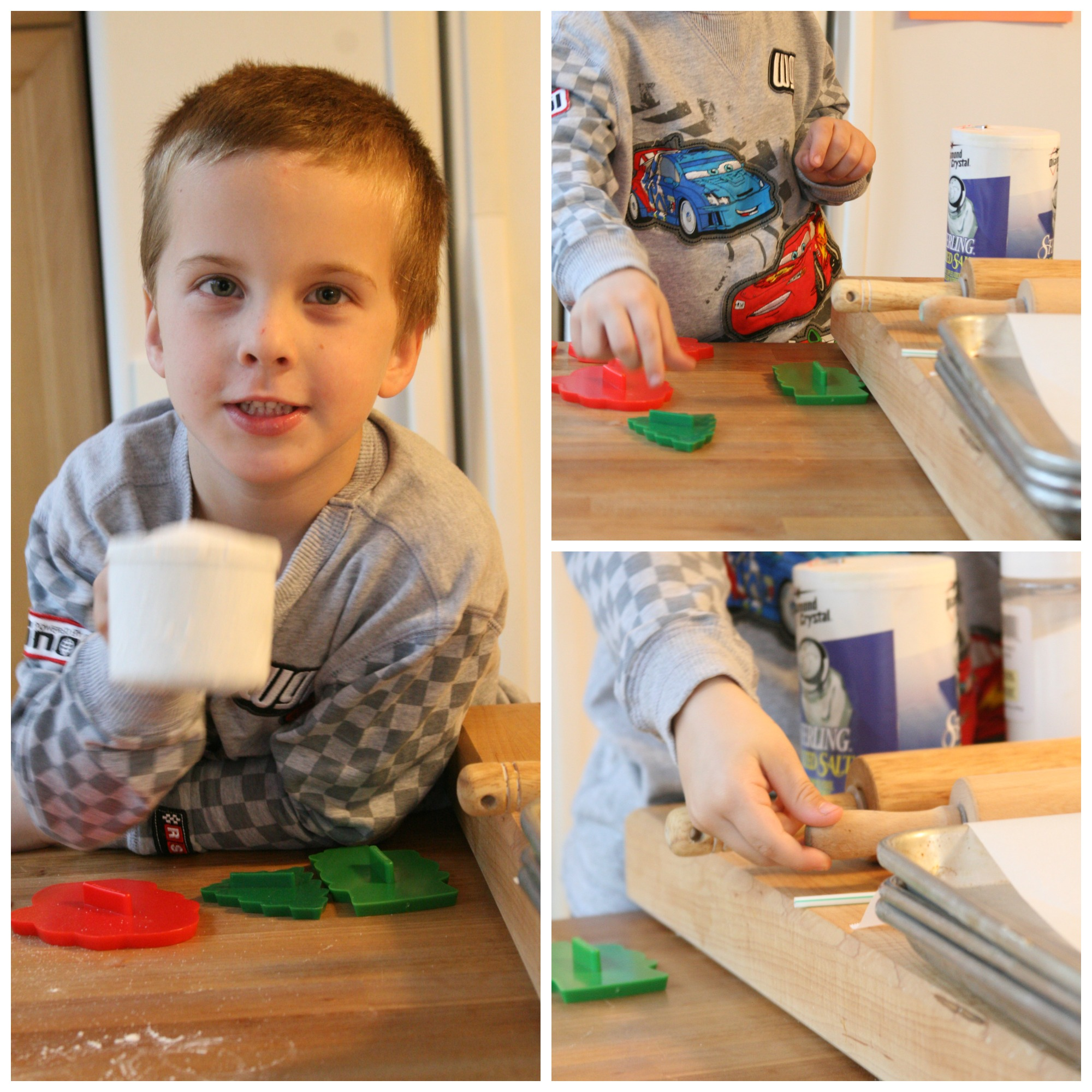Step images with young boy making salt dough ornaments.