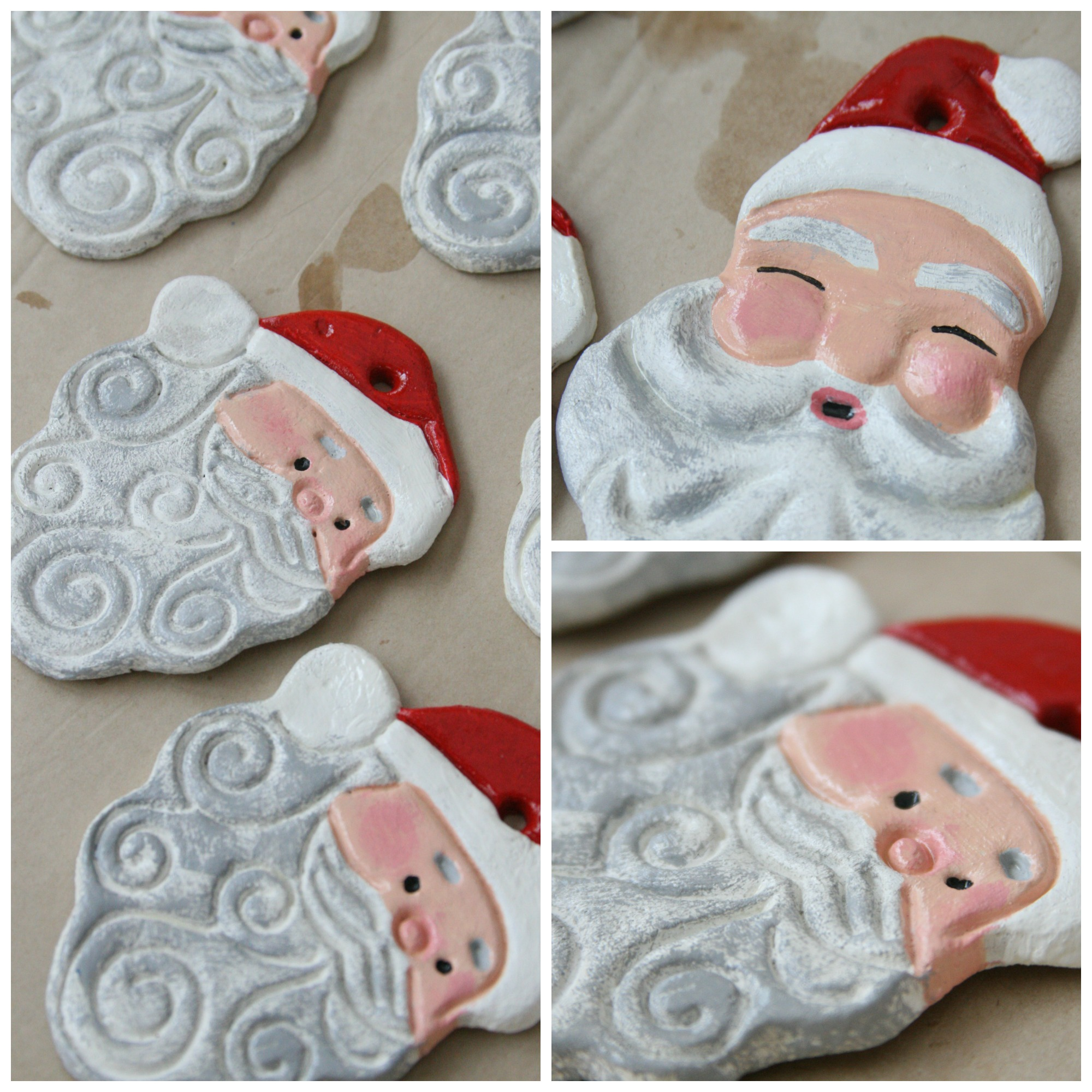 Salt Dough ornaments of painted Santa faces drying on brown Kraft paper.