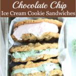 chocolate chip ice cream sandwiches leaning against each other in metal loaf pan, scoop with mint chocolate chip to right