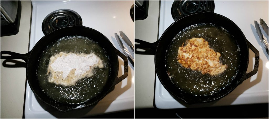 frying buttermilk chicken in a cast iron skillet