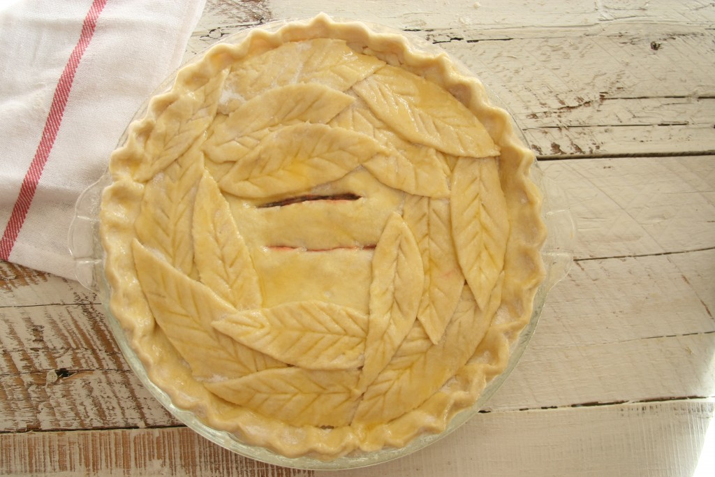 Pie with handmade leaves