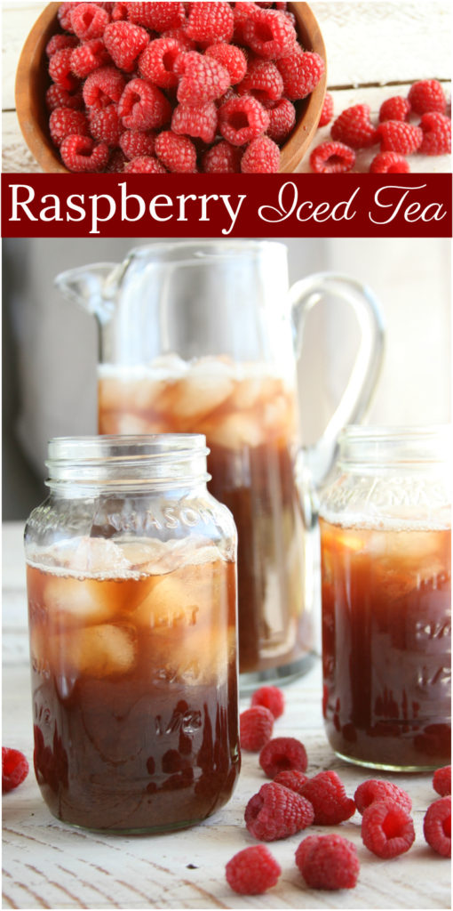 Homemade raspberry iced tea in a glass pouring pitcher and Mason jars