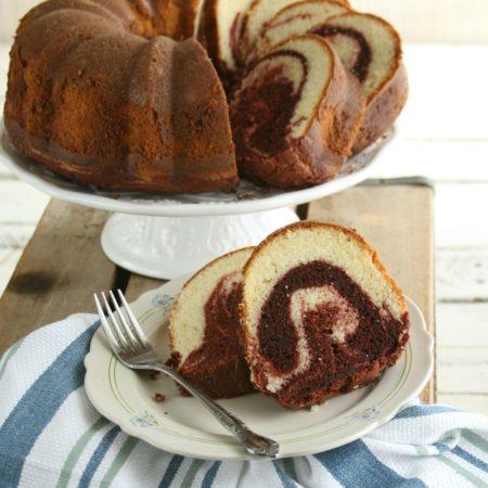 Red velvet marble swirl cake