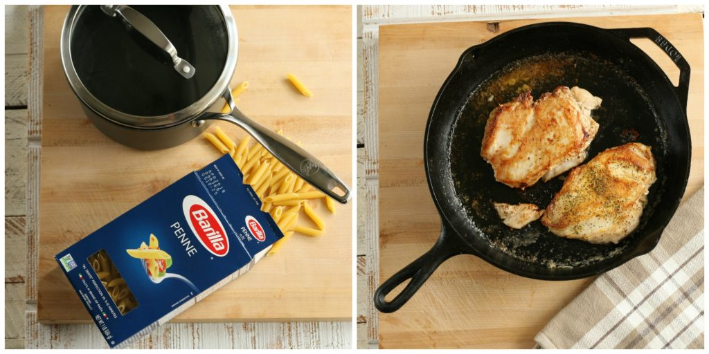 chicken breasts cooking in a cast iron skillet