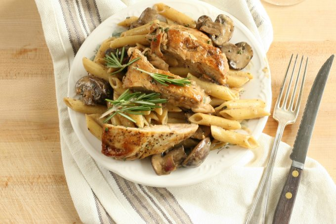 lemon rosemary chicken pasta with a cream sauce and mushrooms on a white plate. Fresh sprig of rosemary on top of pasta
