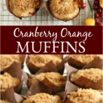 homemade orange muffins with crumb topping in chocolate color tulip shaped paper cups