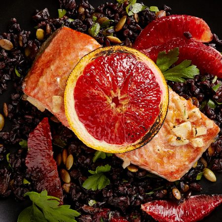 Get the recipe for this delicious Blood Orange Salmon with Black Rice. #salmon #recipes #bloodorange
