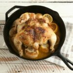 cast iron whole chicken with lemons and white wine