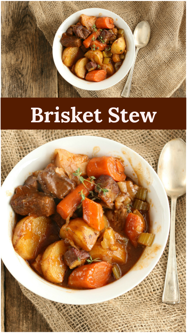 Braised Brisket Stew with carrots, celery, potatoes, and herbs will leave you warm on a cold winter's day. Simple to make in either a Dutch oven or slow cooker. #recipe #foodblogger #homemade #fromscratch #slowcooker