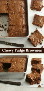 homemade chewy fudge brownies in a square baking pan and some cut out of the pan
