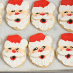 Decorated Santa Sugar Cookies with royal icing