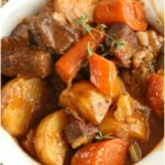 white bowl with beef stew