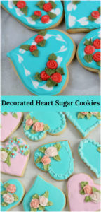 decorated heart shaped sugar cookies with royal icing and handmade royal icing flowers