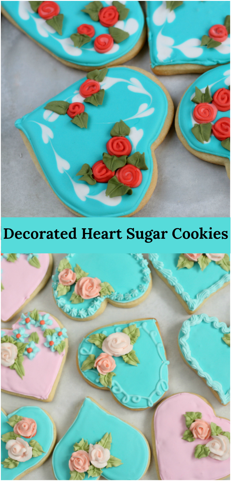 Are you looking for something homemade for the kids to bring to school for Valentine's Day? Then these beautiful Decorated Heart Shaped Sugar Cookies are perfect for you! #Valentinesday #sugarcookies #homemade #recipes