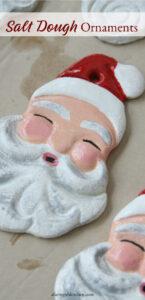 salt dough Santa face ornaments