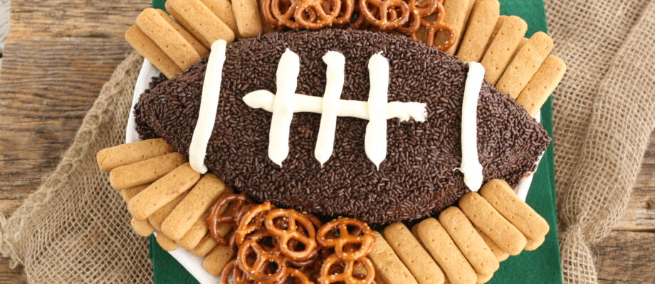 Snickers Brownie Batter Football Dip