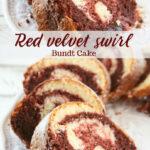 Red Velvet marble cake sliced on white serving dish