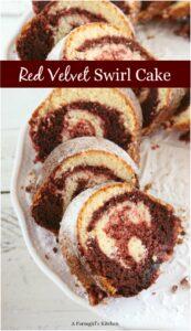 slices of red velvet swirl cake on white footed cake dish