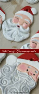 Handmade salt dough ornament Santa faces