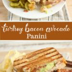 Turkey Panini with bacon on plate with chips and pickles