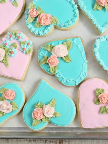 Heart shaped sugar cookies with handmade sugar roses