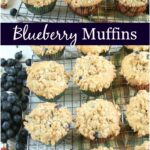 blueberry muffins with streusel topping on baking rack cooling
