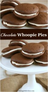 Whoopie pies on white footed glass cake dish