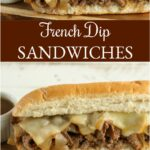 French dip sandwiches on cutting board with small white bowl of auju