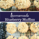blueberry muffins on baking rack cooling