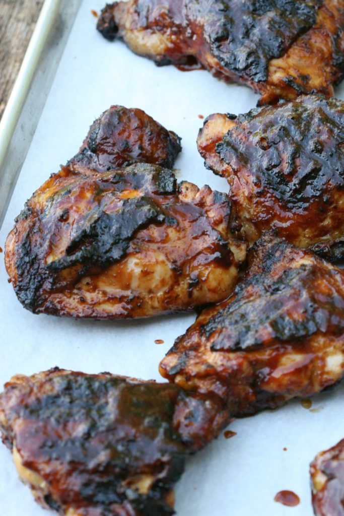 Grilled barbecue chicken with sauce