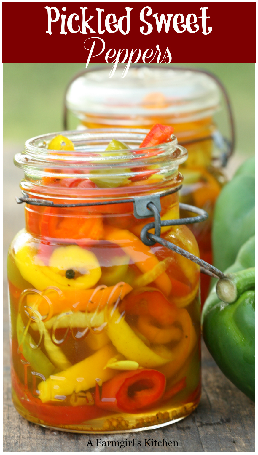 Get the #recipe for these amazing Pickled Sweet Peppers. So easy to make with only a few simple ingredients. #foodblogger #pickled #pickledpeppers #canning #farmkitchen #recipes