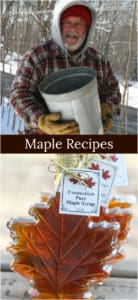 pure maple syrup being made and maple syrup in glass maple leaf shaped bottles
