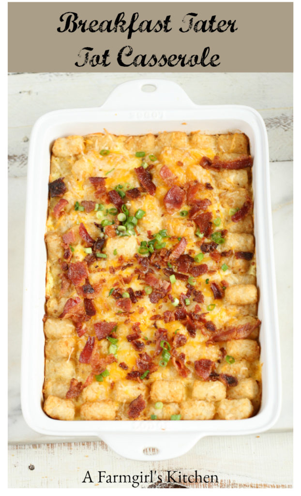 This delicious Breakfast Tater Tot Casserole is simple to make and perfect for breakfast or brunch. #breakfast #brunch #eggcasserole #recipes #tatertots