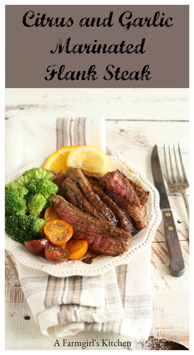Citrus and Garlic Marinated Flank Steak is super easy to prepare and delicious with steamed broccoli. #recipe #flanksteak #steak #recipes #Afarmgirlskitchen
