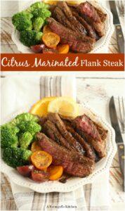 marintated flank steak sliced on dinner plate with broccoli and heirloom tomatoe slices