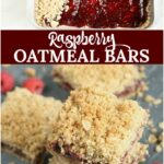 raspberry oatmeal bars in a rectangle metal baking pan