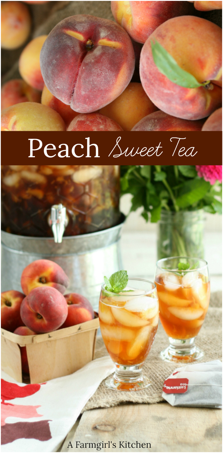 Homemade Peach sweet tea in a glass drink dispenser with galvanized base and clear footed glasses with tea