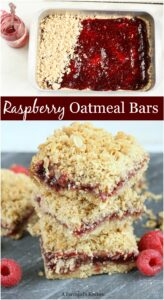 raspberry oatmeal bars stacked on each other