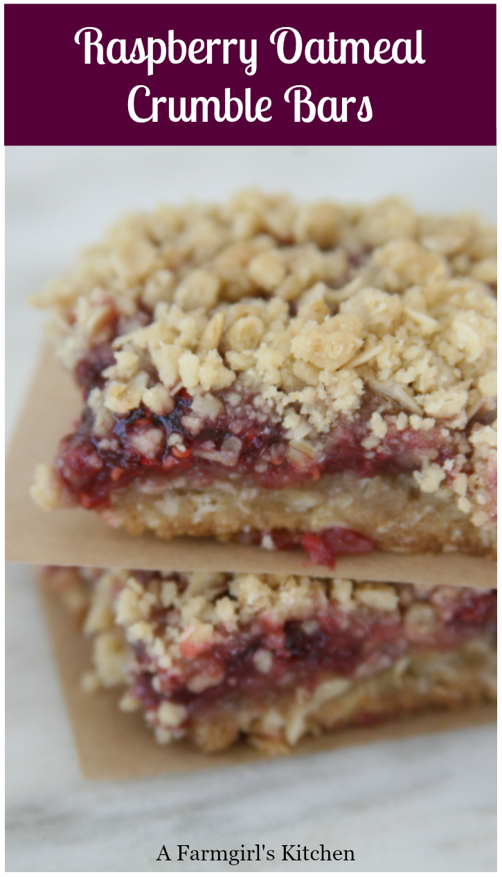 Raspberry Oatmeal Crumble Bars with raspberry jam