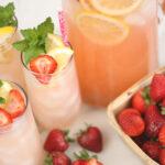 glasses of homemade strawberry lemonade