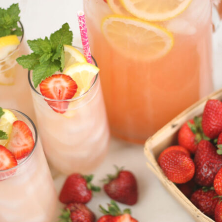 glasses of homemade strawberry lemonade
