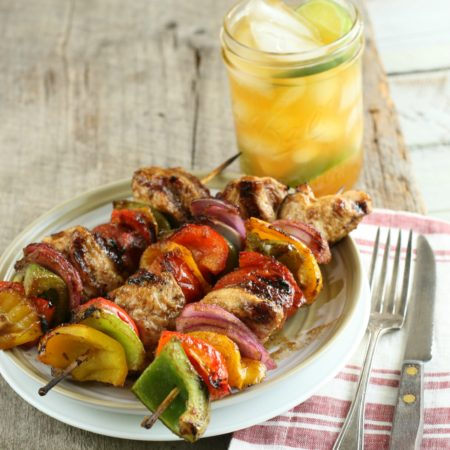 maple barbecue chicken kebabs with sweet tea