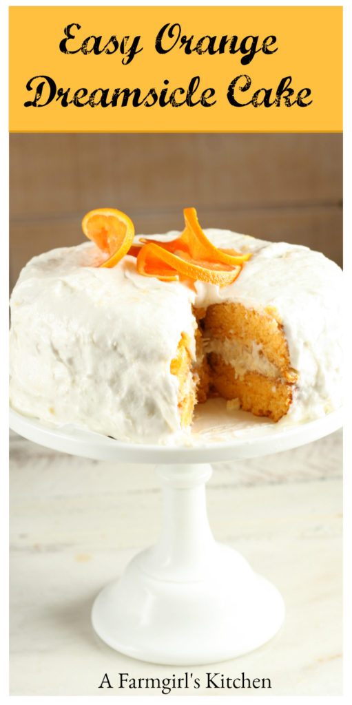 Make this deliciously moist Easy Orange Dreamsicle Cake using only a few simple ingredients. #orangecake #orange #dreamsiclecake #recipes