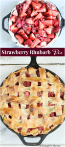strawberry rhubarb pie in a cast iron skillet