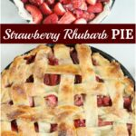 strawberry rhubarb pie with lattice crust in cast iron skillet