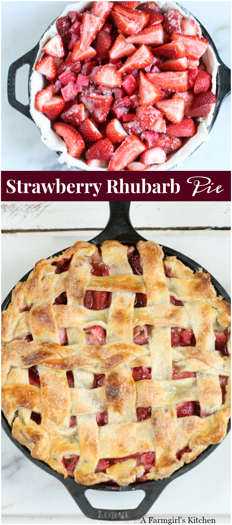 Looking for Grandma's Strawberry Rhubarb Pie Recipe and can't find it?! Try my recipe using simple ingredients and homemade pie crust. #recipe #foodblogger #pie #strawberryrhubarb