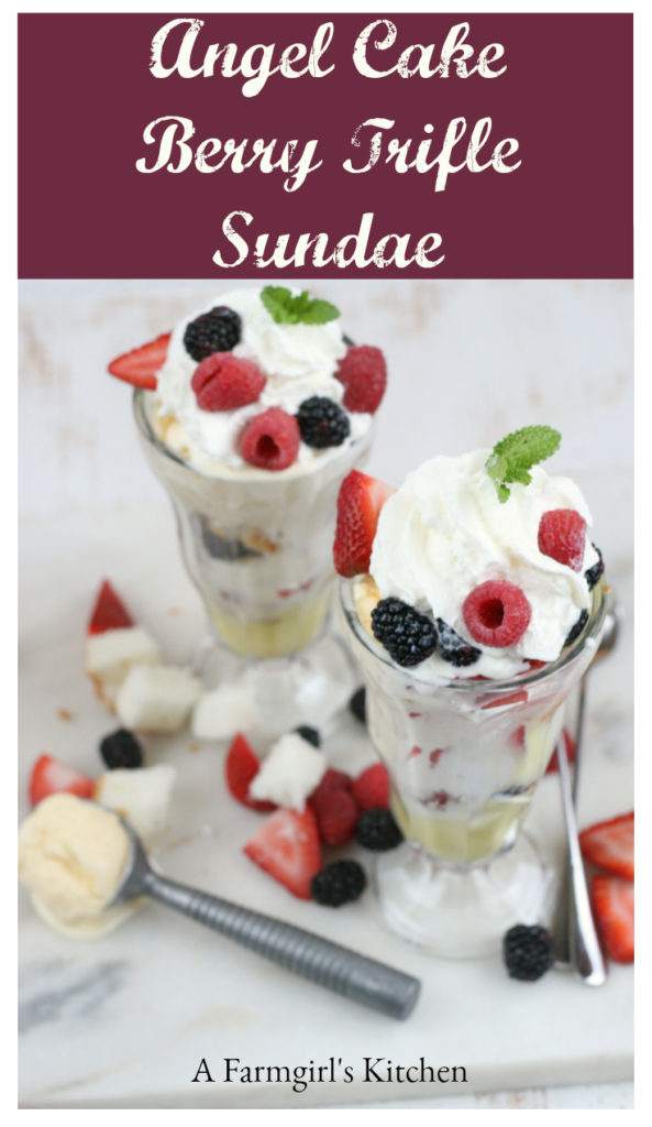 Angel Cake Berry Trifle Sundae in footed glass dessert cups