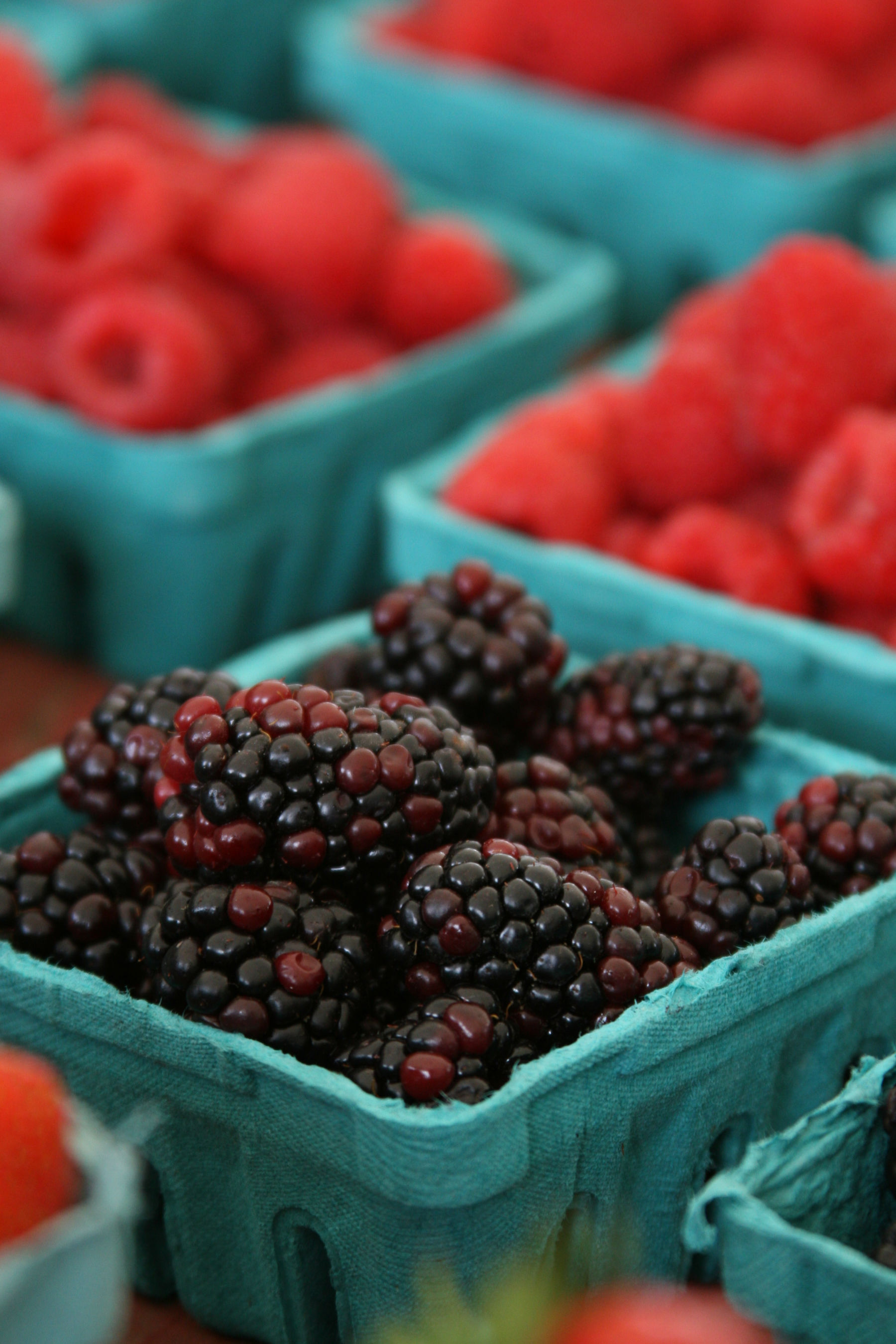 blackberries and raspberries in pint containers at the farm