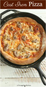 homemade pizza in a cast iron skillet