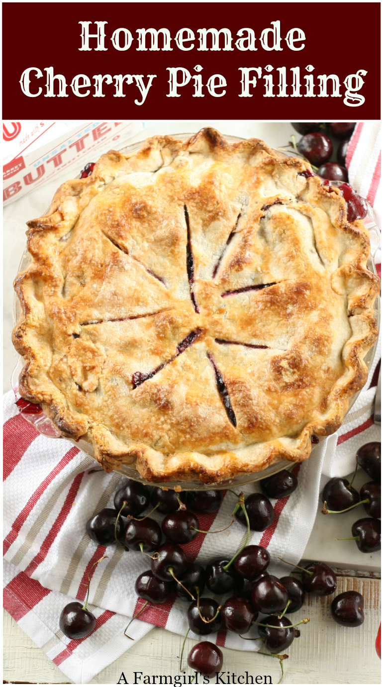 Get the #recipe for Homemade Cherry Pie Filling. It's so easy to make! #recipe #foodblogger #cherrypie #pie #dessert #pastry #fromscratch #bakefromscratch